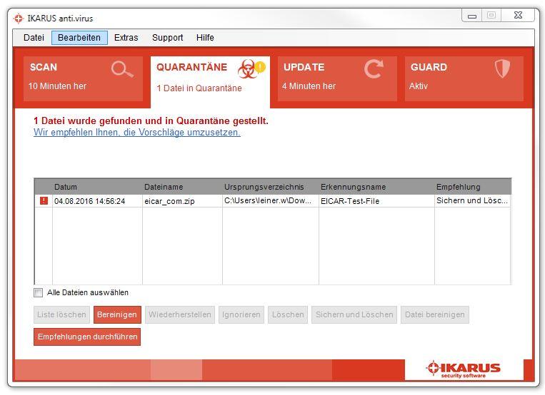 Quarantäne – Virus gefunden