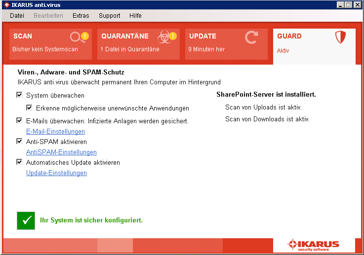 SharePoint-Einstellungen IKARUS anti.virus