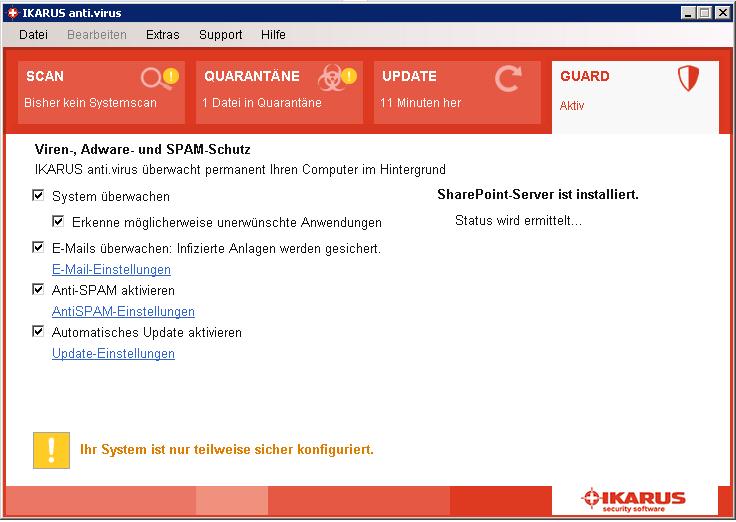 SharePoint-Einstellungen – Status wird ermittelt