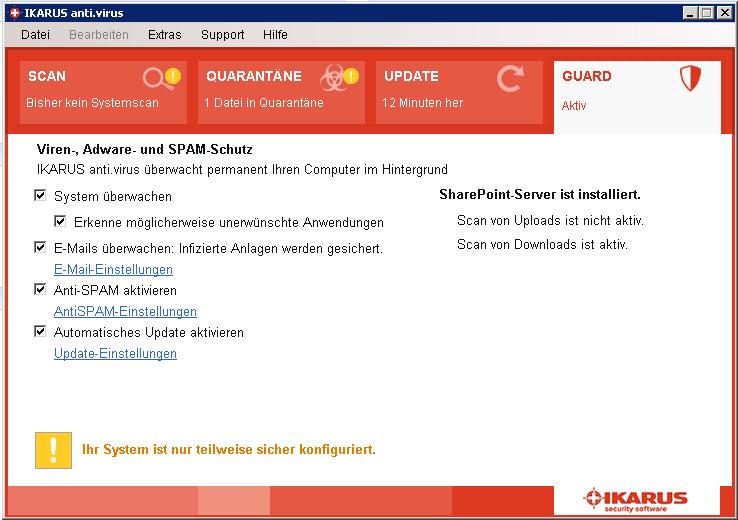 SharePoint-Schutz ausgeschaltet
