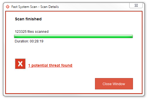 Scan finished – 1 potential threat found