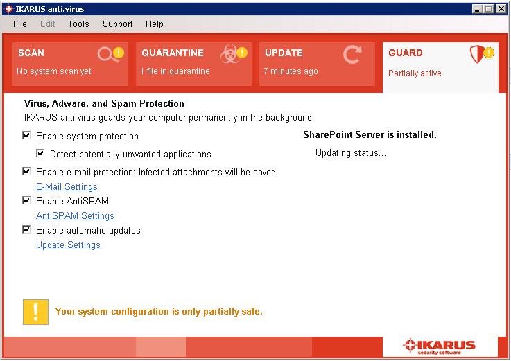 Sharepoint-Settings – Updating status