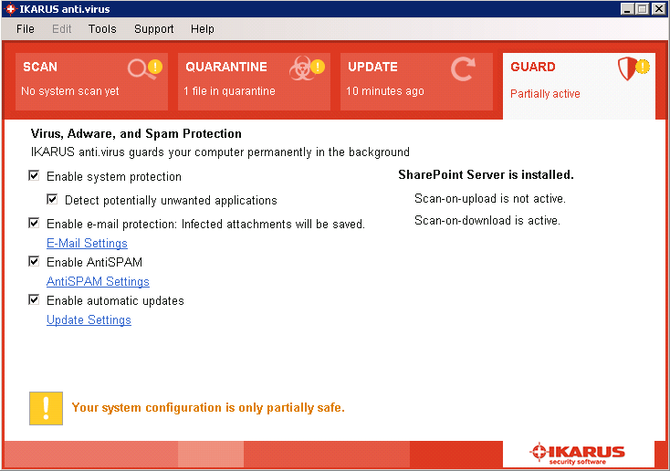 Sharepoint-protection disabled