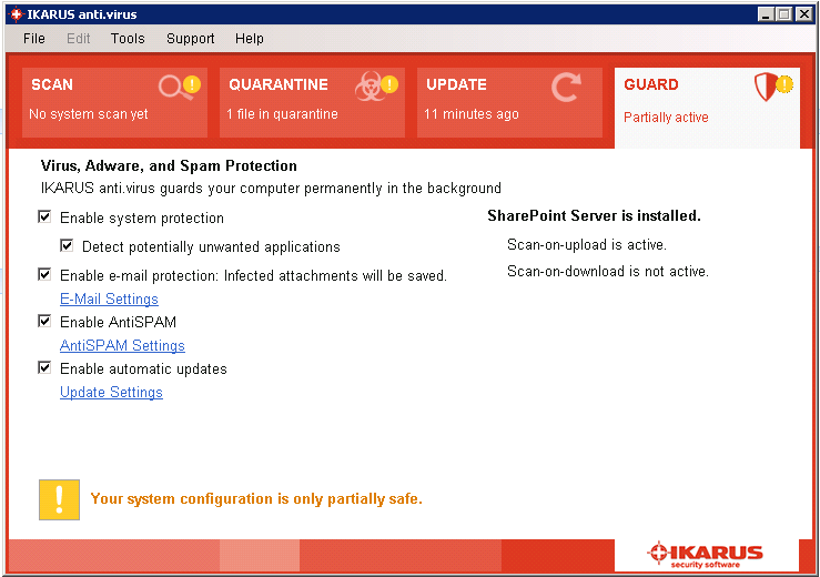 Sharepoint-protection not complete