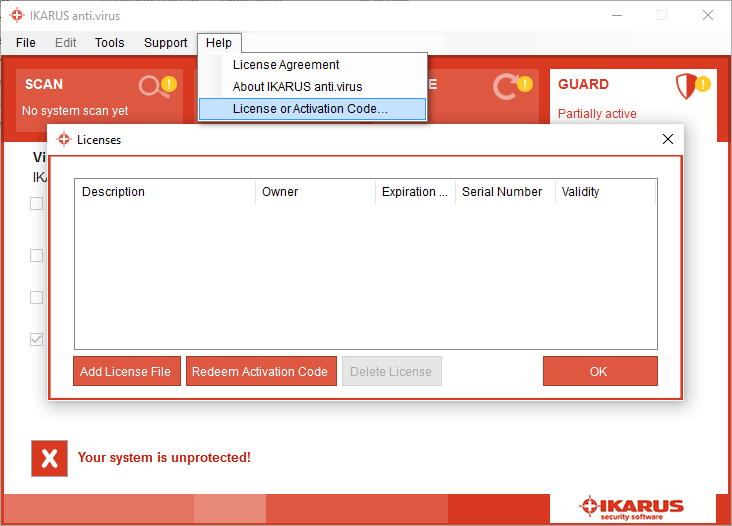 License file or Activation code