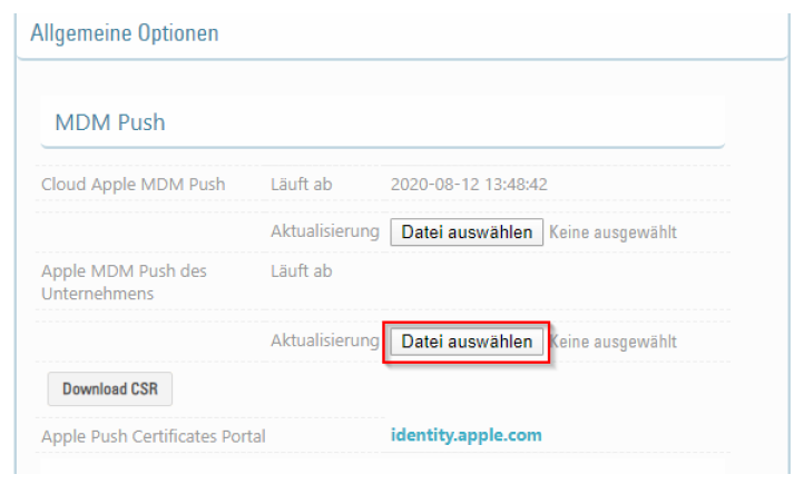 Hochladen des generierten APNs Zertifikat zum MDM Server
