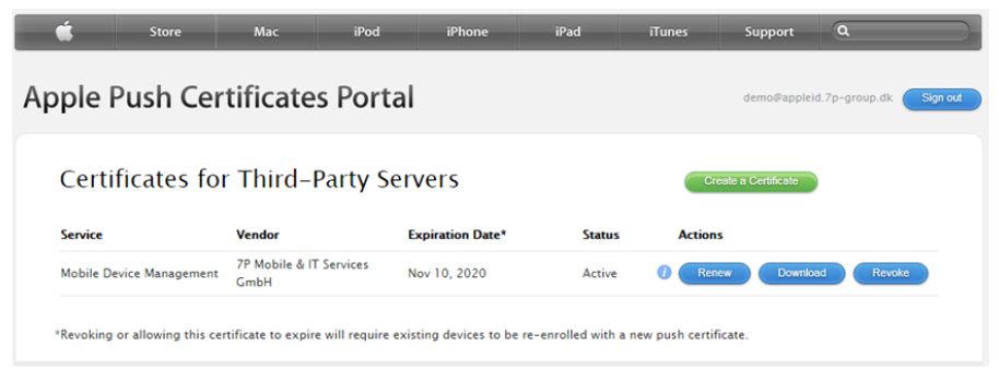 Apple Push Certificates Portal